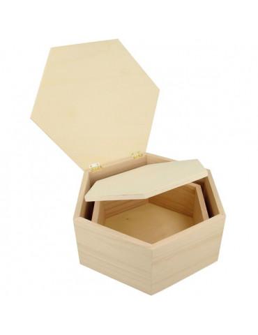 Boite en bois Hexagonale - Lot 2 boites 18cm et 22cm