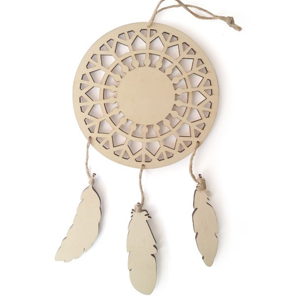Support bois Attrape-rêves Plumes - 23,5cm