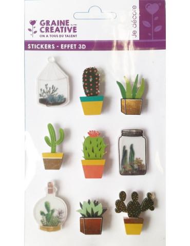 Stickers 3D Cactus - 9 autocollants - 2,5 à 4cm