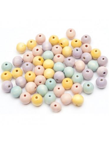 Perles bois Pastel 10mm x60