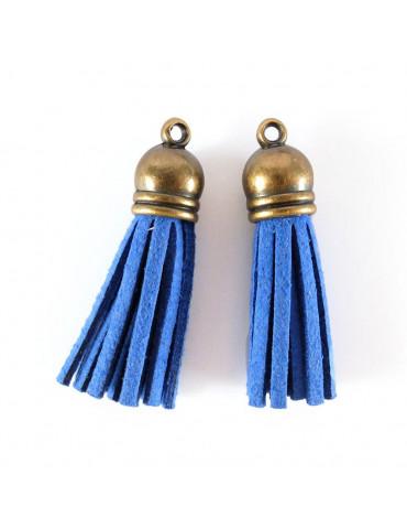 Pompon suédine Bleu - 4cm - 2 pièces