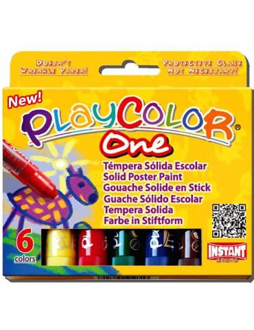 Playcolor One - Boite 6 sticks de Gouache solide - Instant