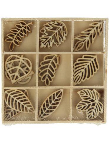 Mini silhouettes bois Artemio - Feuilles 2,5cm - 27 pièces