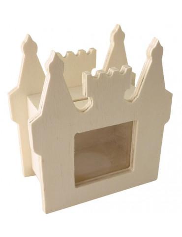 Tirelire Château bois avec fenêtre carrée