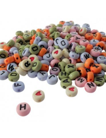 Perles alphabet Multicolores x 250