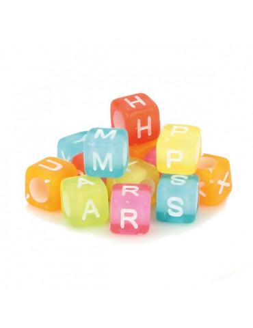 Perles lettres acidulées - 300 perles cube - 6mm