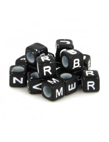 Perles alphabet noir et blanc - 300 Perles cube 6mm - Artemio