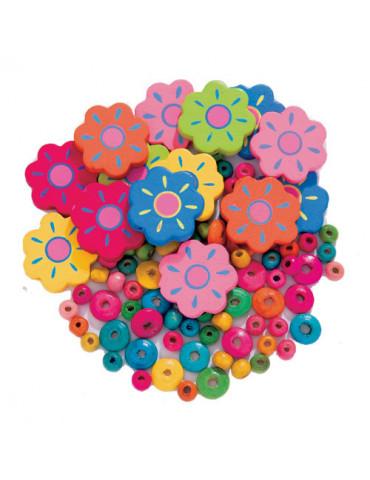 Perles bois - Fleurs mix