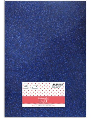 Flex glitter - Tissu thermocollant Bleu royal - Mlle Toga