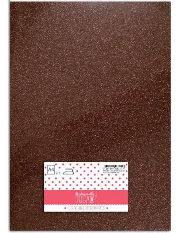 Flex glitter - Tissu thermocollant Marron glacé - Mlle Toga