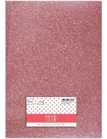 Flex glitter - Tissu thermocollant Rose nacré - Mlle Toga