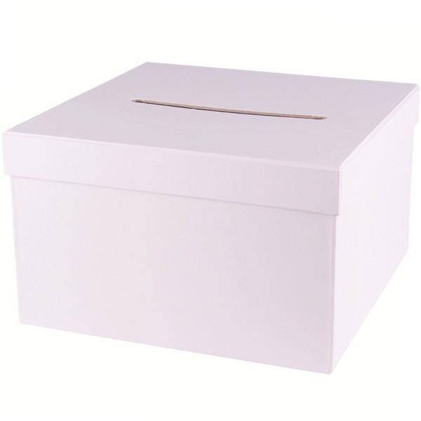 Urne carrée en carton blanc - 24,5x24,5x15 cm
