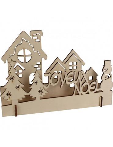Mini scène de noël en bois - Village de noël - 23x16x3,5cm
