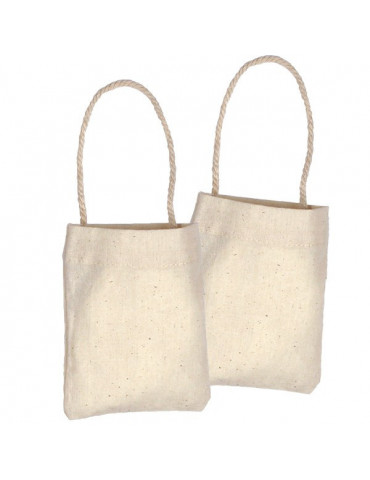 Mini sac en coton naturel x24 - 10,5x8,5cm