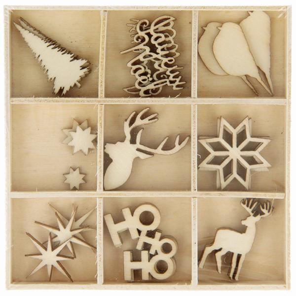 Mini silhouettes bois Noël écossais 2,5cm x27