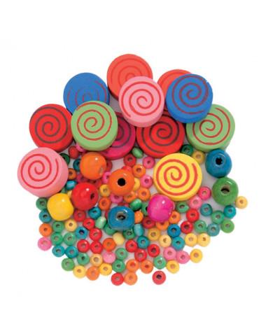 Perles bois - Spirales mix