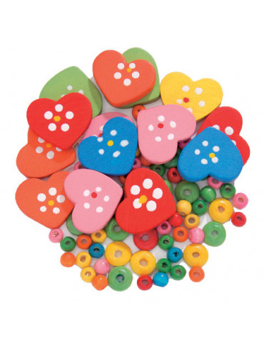 Perles bois - Coeurs mix