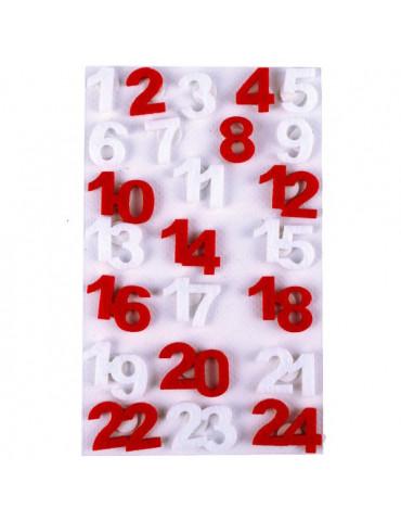 Chiffres feutrine calendrier de l'avent - Rouge et Blanc