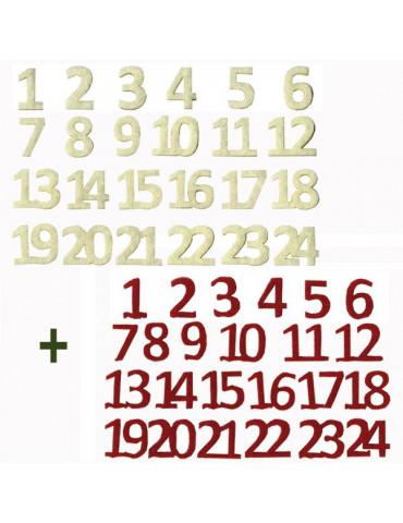 Chiffres feutrine calendrier de l'avent - Rouge et blanc- 48 pcs