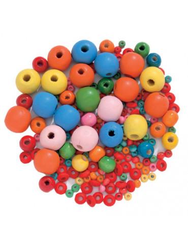 Perles bois - Rondes mix