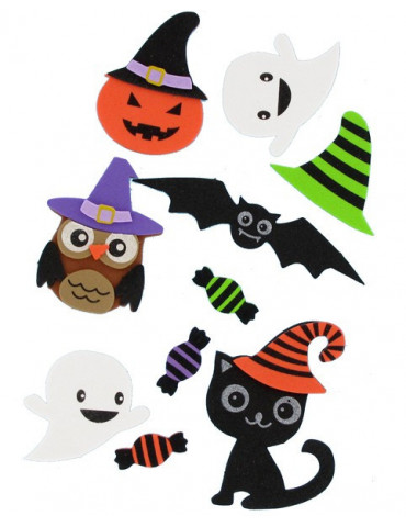 Stickers 3D mousse Halloween - 10 autocollants