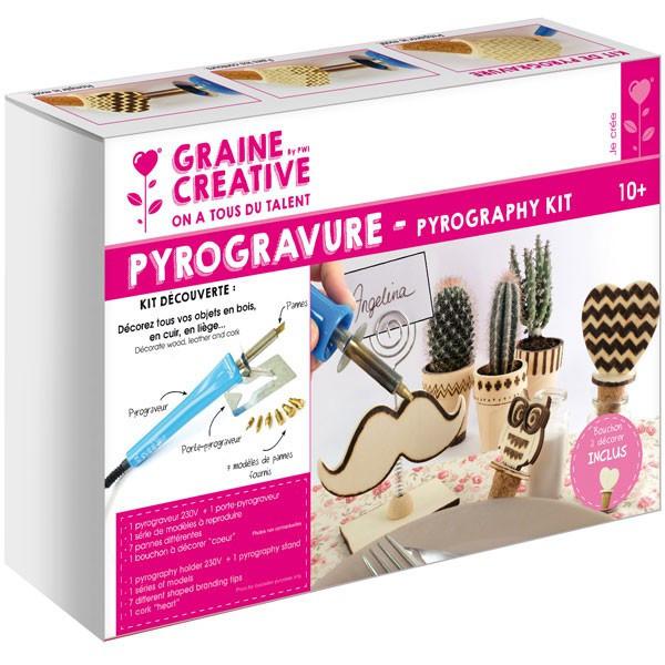 Kit découverte pyrogravure - 7 pannes + 1 support à décorer - Graine Créative