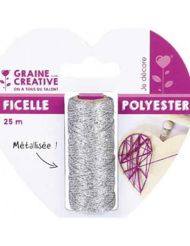 Ficelle métallisée Argenté - Bobine 25m - Graine Créative
