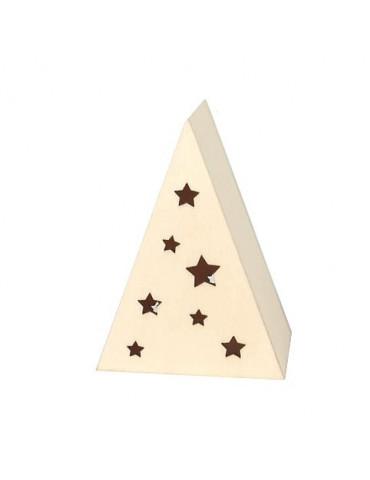Petit sapin en bois avec bougie LED - 9x6,5cm