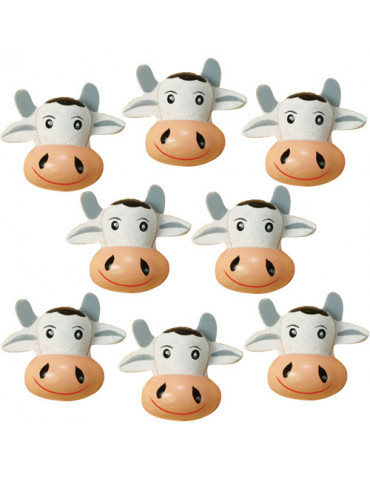 Vache 3D en bois peint x8