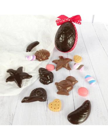 Moule chocolats de Pâques - 12 sujets 2cm à 10cm