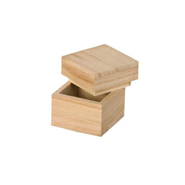 Boite cube en bois - 5x5x5 cm