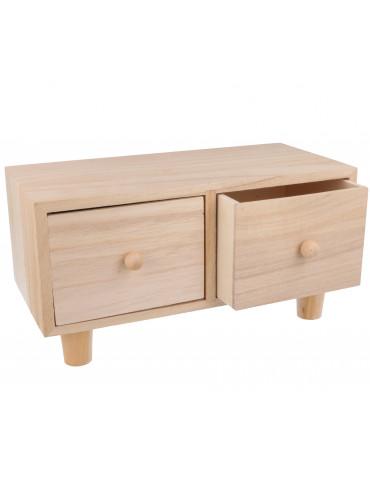 Meuble en bois 2 tiroirs -...