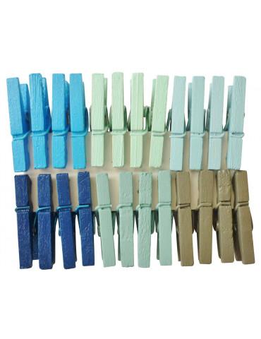 Pinces à linge 25mm - Couleur Océan x24