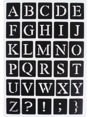 Pochoir alphabet Majuscule adhésif - 14x20cm
