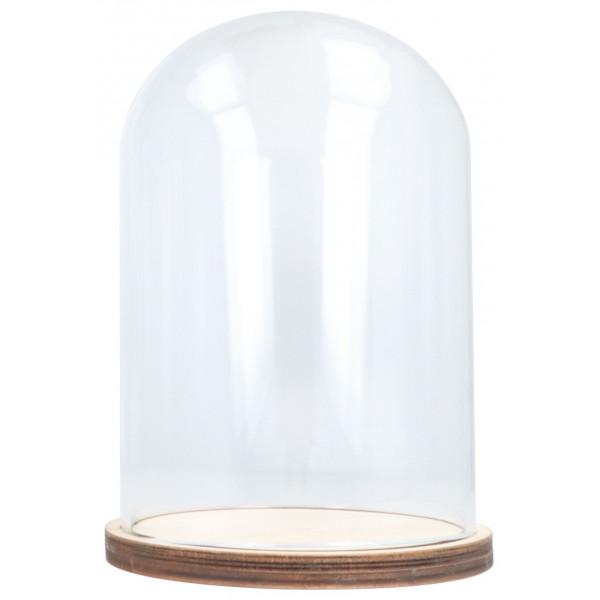 Cloche en verre avec socle bois - 11x15cm