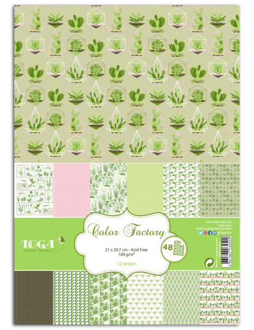 TOGA - Color Factory - 48 papiers imprimés Oh My Green
