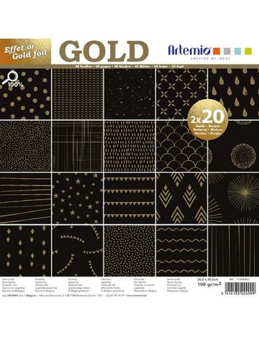 Papiers scrapbooking noir foil or - 30x30cm - 2x 20 feuilles - Artemio