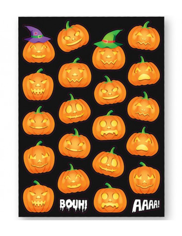 Gommettes Halloween - Citrouilles - 44 stickers