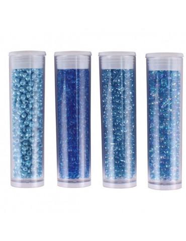 Perles de rocaille - Bleu clair - 4 tubes assortis x8g