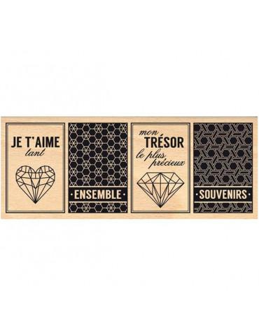 Tampon bois Trésor graphique - Florilèges Design