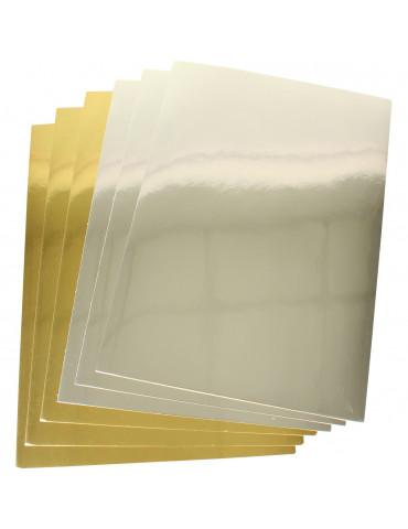 Cartes fortes effet miroir Or, Argent - A4 - 6 pcs