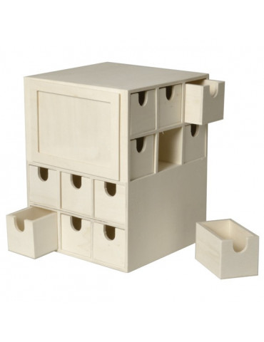 Calendrier de l'Avent Cube en bois - 22cm