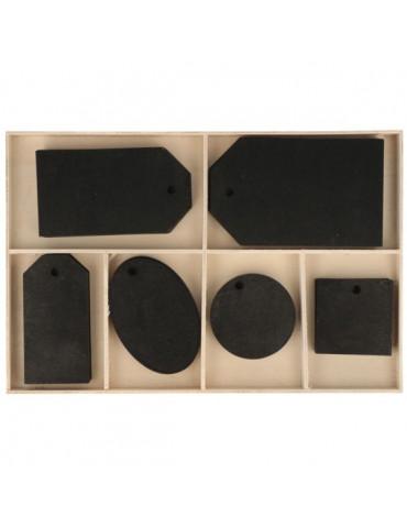 Set 36 étiquettes bois noir - 35mm à 85mm
