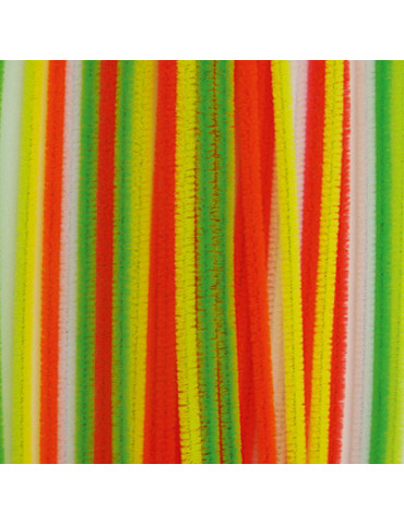 Fils chenille fluo 6mm x28