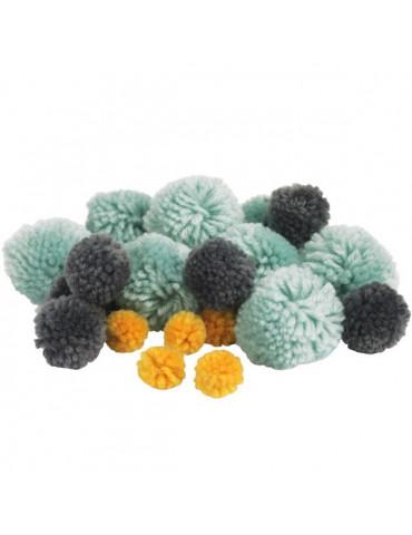 Pompons laine - Assortiment Bali x45 - 15 à 45mm