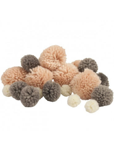 Pompons en laine - Assortiment Paris x45 - 15 à 45mm