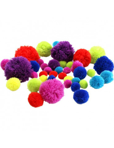 Pompons Grand format grand fox45 - Couleurs vives - 15 à 55mm