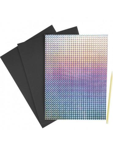 Carte à gratter Holographique x2 + grattoir - 14x19cm
