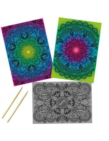 Kit Cartes à gratter Mandala - 3 motifs 21x29,7cm