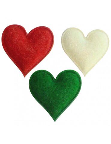 Coeurs feutrine adhésive x12